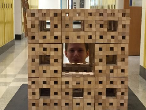 Math students construct cubic Menger sculpture