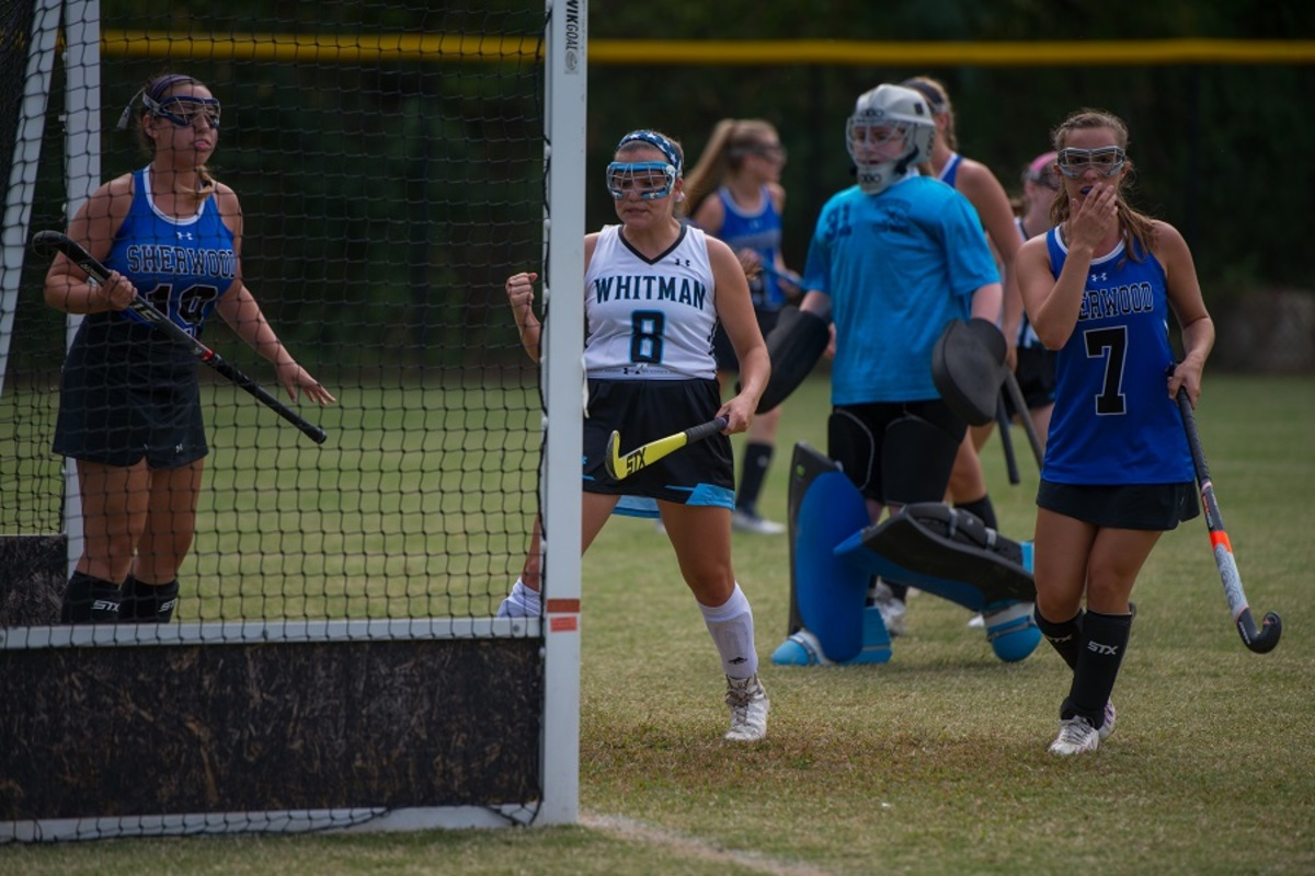 Hisle celebrates a goal against Sherwood. She currently leads the county in goals scored. Photo by Jefferson Luo.