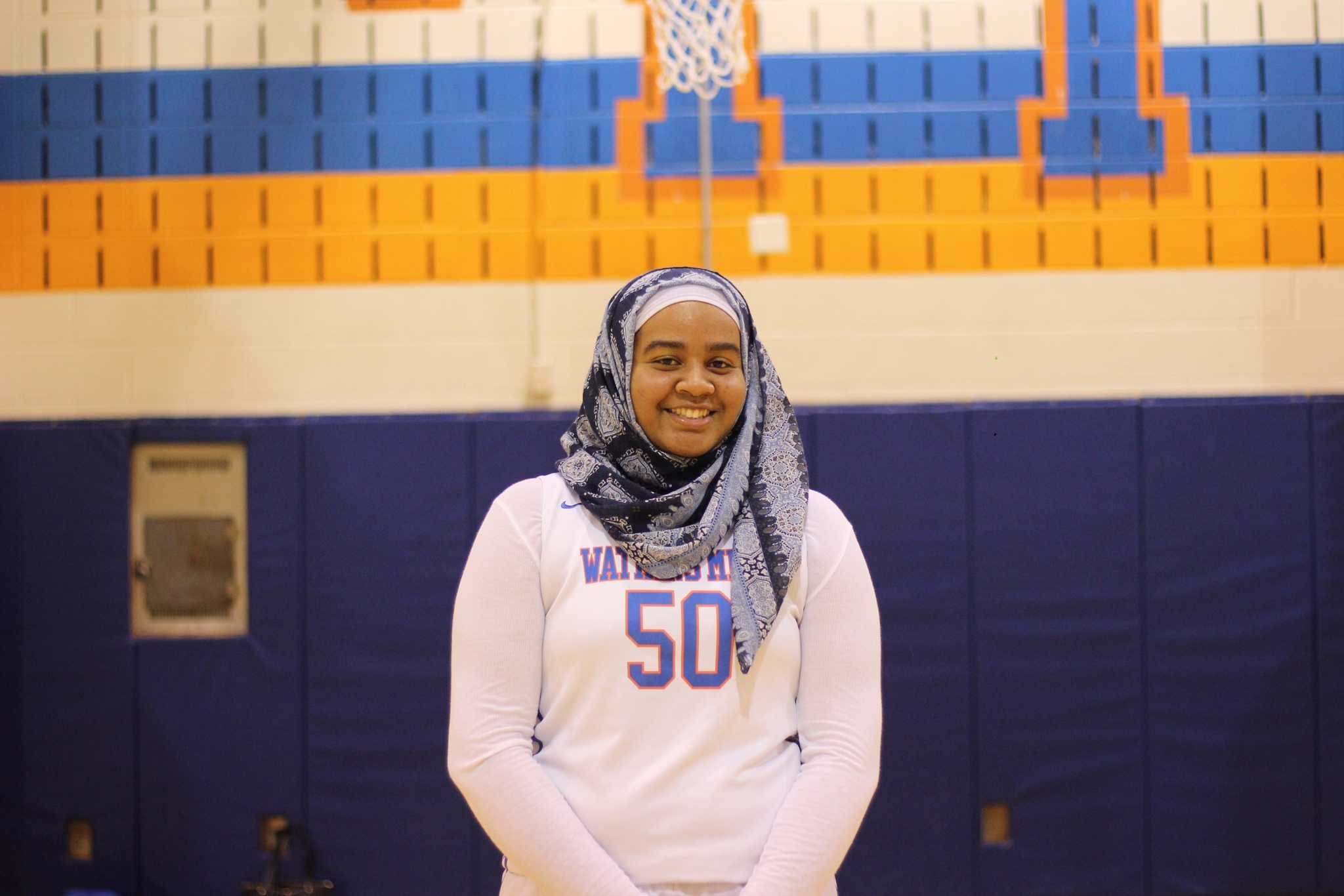 Je'Nan Hayes, a junior at Watkins Mill, finished her first season of organized basketball on the sidelines after referees told her coaches that due to national sports rules, she wasn't allowed to play in her hijab. Photo courtesy Je'Nan Hayes.