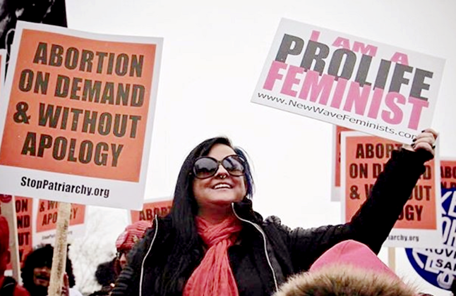 Members of New Wave Feminists, a pro-life feminist group, participating in the March for Life 2016. The group was removed from the list of partners for the Jan. 21 Women's March on Washington. Photo courtesy New Wave Feminists.