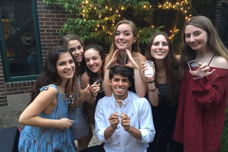 Whitman+Drama+seniors+show+off+their+awards+at+the+annual+drama+banquet+May+20.+Photo+courtesy+Delaney+Corcoran.+