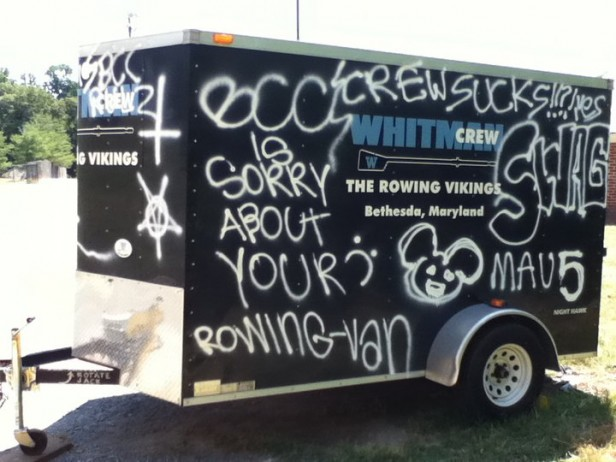 Graffiti covers the crew team's trailer, with some writing referencing Bethesda-Chevy Chase High School. Montgomery County Police are currently investigating the incident. Photo by Liam Knox.