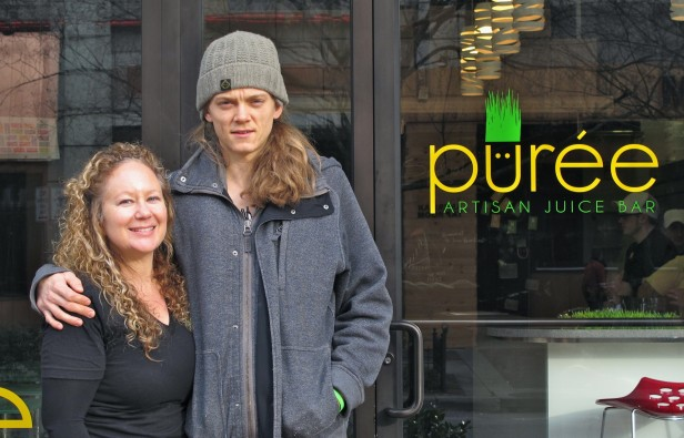 Owner Amy Waldman (83) and chef Steve Mekoski stand outside Puree, the new juice bar in downtown Bethesda. Waldman first discovered juicing when trying to solve her health problems. Photo by Zach Fuchs.
