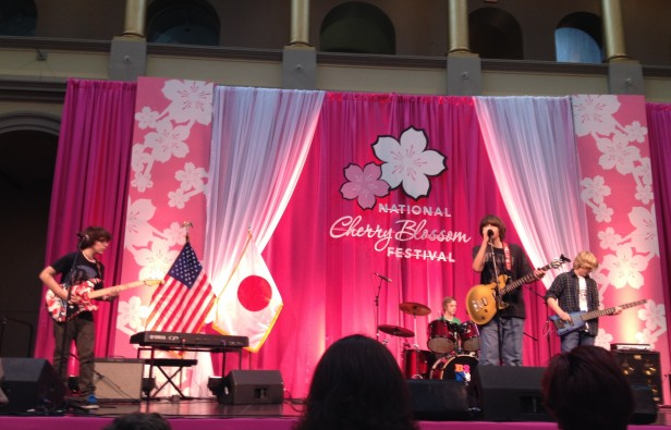 Pyle seventh-grader Andrew Gonzales sings at the National Cherry Blossom Festival March 24 as part of the Family Days celebration. Gonzales' band,