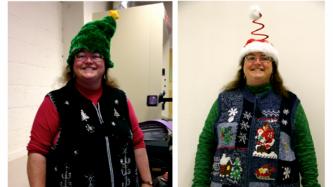 Science teacher Sherri Gingrich wears a different Christmas sweater every day of the holiday season. Photos by Paula Ospina.