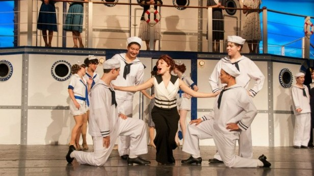 Sophomore Erin Craig, who won Best Lead Actress in a Musical, performs with fellow cast mates in Anything Goes. The Drama program was nominated for 10 Cappie awards last Sunday.