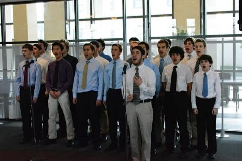Cast members from Whitman's upcoming production of MIss Saigon performed selections from the show and the national anthem for recovering military service members at Walter Reed Medical Center today. Photo courtesy Chris Gerken.