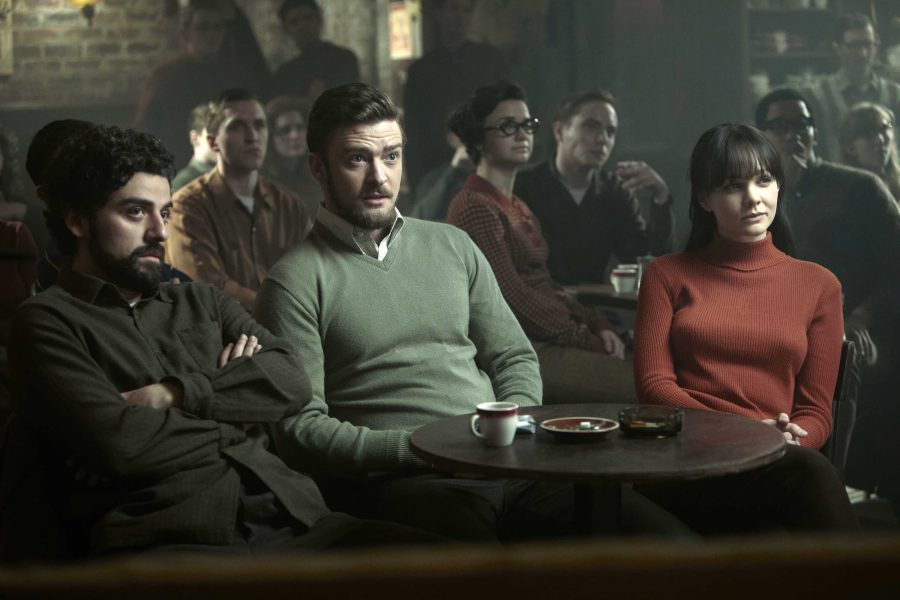 Oscar Isaac, Justin Timberlake and Carey Mulligan in a scene from
