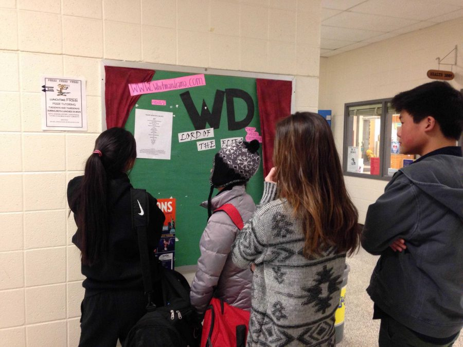 Students view this year's Talent Show set list. Auditions were held Thursday and Monday, and the final list was posted at the end of the day today. Talent Show 2014: An Epic will take place March 27-29.