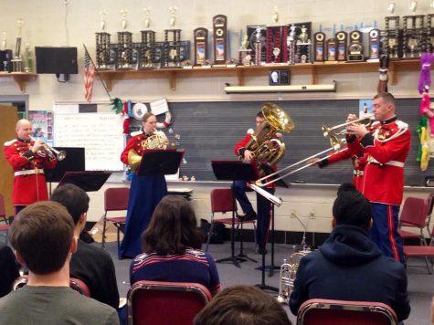 Marine Brass Quintet performs for wind ensemble