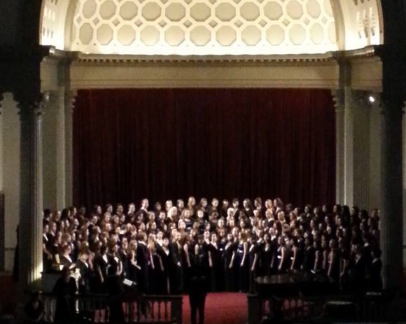 Women's chorus performed at the University of Maryland College Park Memorial Chapel last night, along with the women's choirs from Marriotts Ridge High School and UMD. Photo courtesy Vera Ashworth.