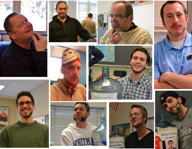 Several male students and teachers competed in the Battle of the Beards in order to raise money for the Leukemia & Lymphoma society. The men raised money during the week of February 24-28 by showing off their shaved, dyed or simply impressive facial hair. Photos by Abby Cutler.