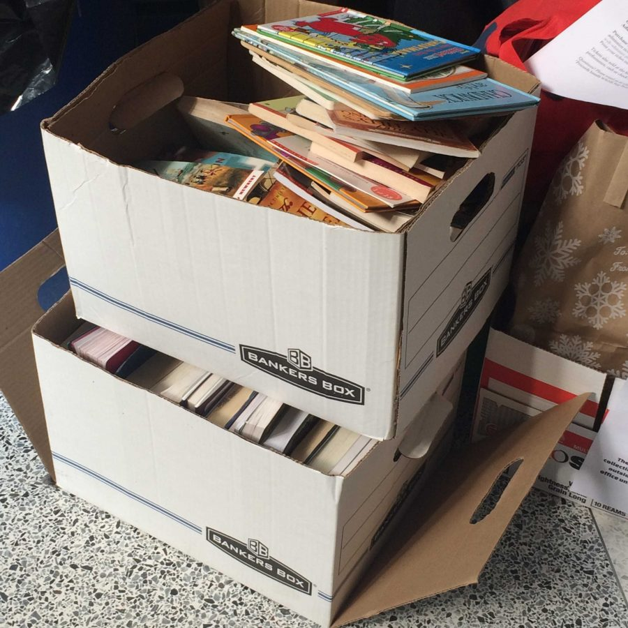 The SGA is collecting books to benefit Oak View Elementary. Last year, they collected five boxes of books and hopes to receive seven boxes this year. Photo by Julia Pearl-Schwartz.