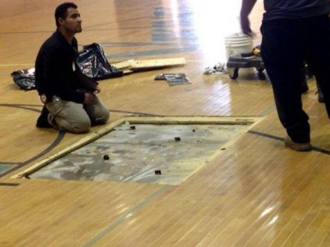 Photo of the day: Gym floor repairs