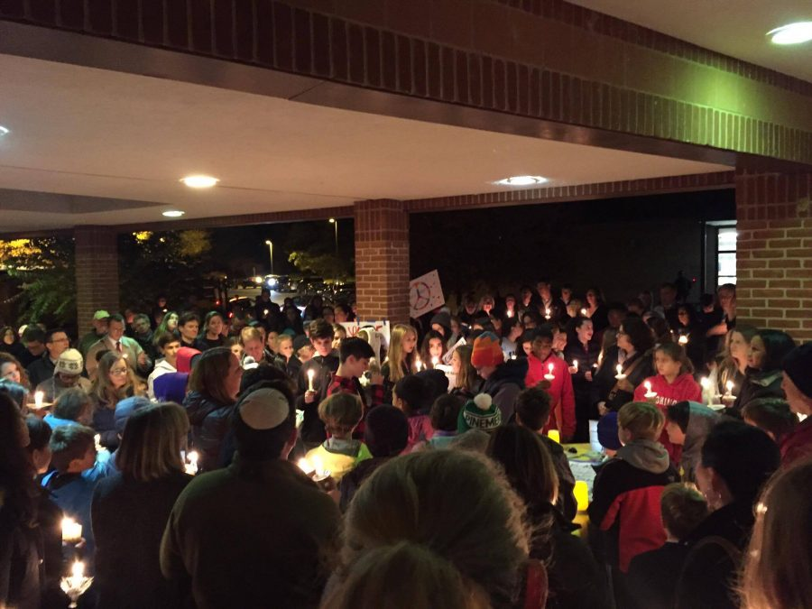 Westland+community+members+gathered+for+a+%22vigil%22+addressing+vandalism+in+the+area.+Photo+by+Lily+Friedman.