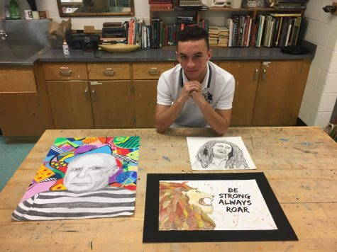 Senior Oliver Panlibuton with some of his pieces which he said offer him a therapeutic outlet. Photo by Aiden Lesley.