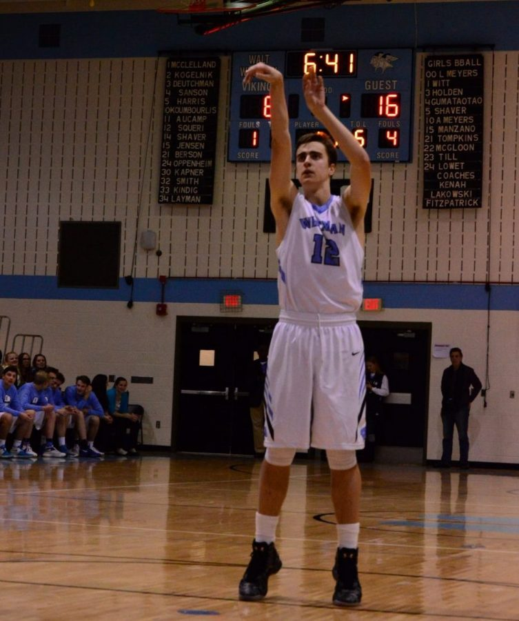 Guard Joey Squeri led the team shooting 3 for 6 from the free-throw line, with the team shooting a team-high 17 free-throw attempts in a dominant 50–36 showing against Churchill. Photo by Annabelle Gordon.