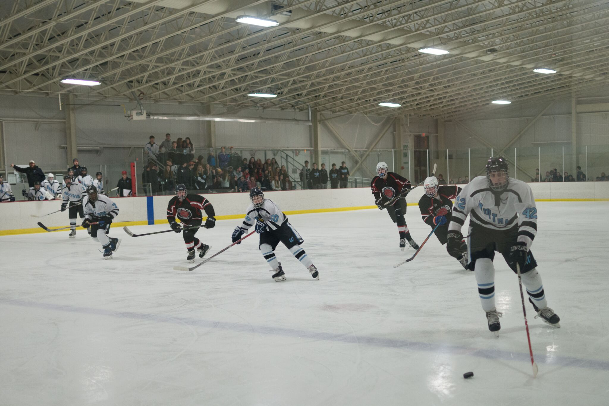 Defenseman Mark Meinecke glides the puck into the offensive zone in the team's victory over QO. Photo by Tomas Castro.