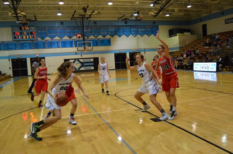Forward Olivia Meyers contributed to the victory over Wootton, in which the Patriots were held to their  lowest point total of the season.  Photo by Valerie Myers.