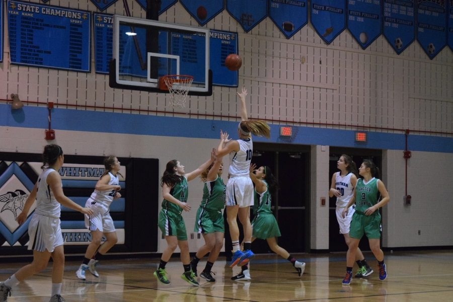 Guard Abby Meyers goes up for a floater in the team's victory over WJ. Photo by Rachel Hazan.