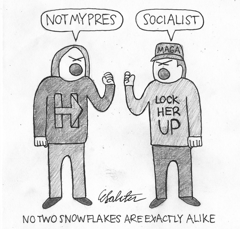 Cartoon by Eli Saletan.