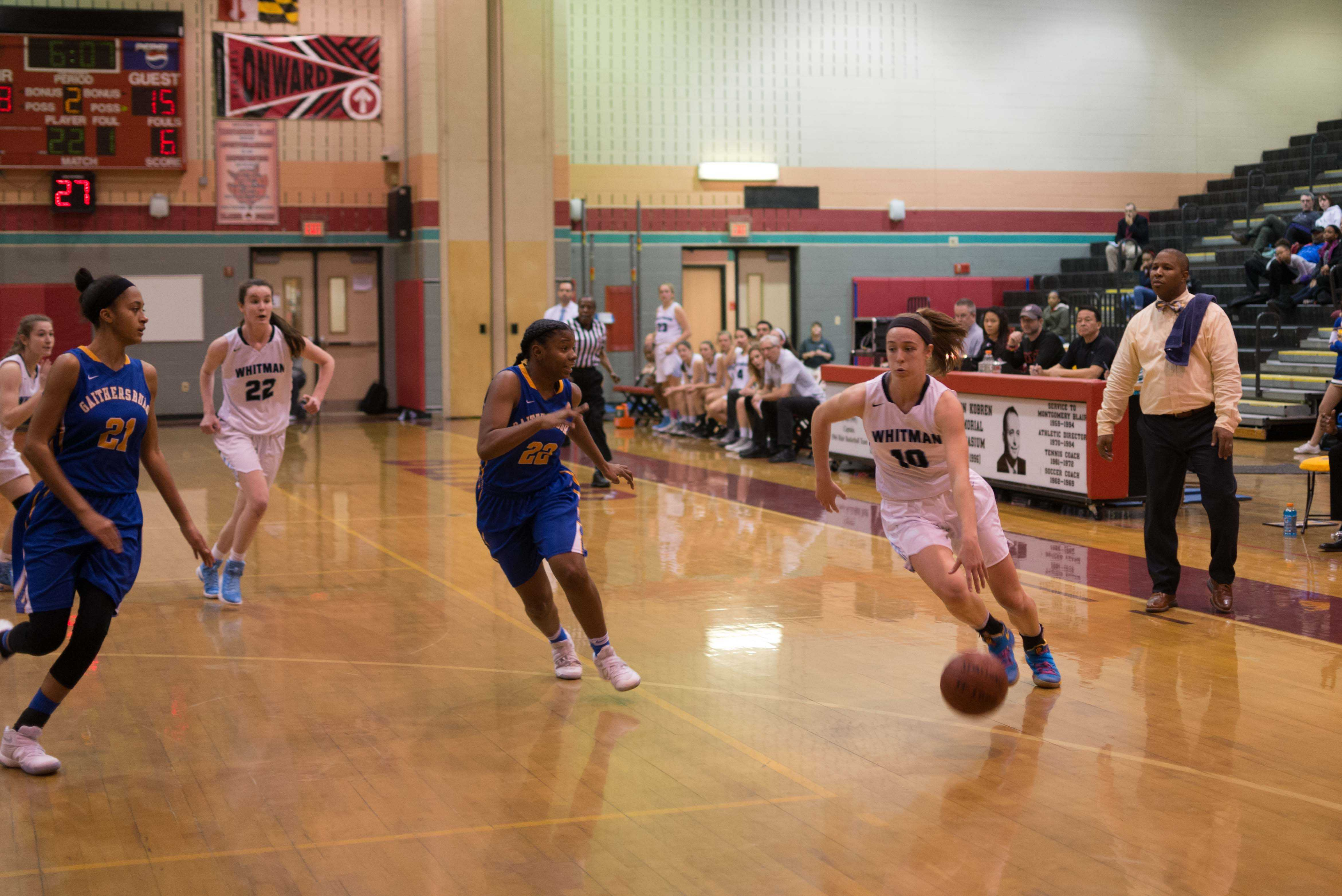 Guard Abby Meyers drives to the basket in the team's dominant 69-46 win over Gaithersburg. The Vikes outscored opponents in wins by a combined 662 points this year. Photo by Tomas Castro.