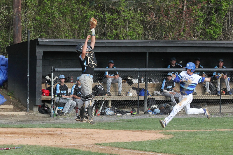 Catcher Patrick Cashmere receives a ball at the plate early on in the game. Photo courtesy of Whitman baseball.