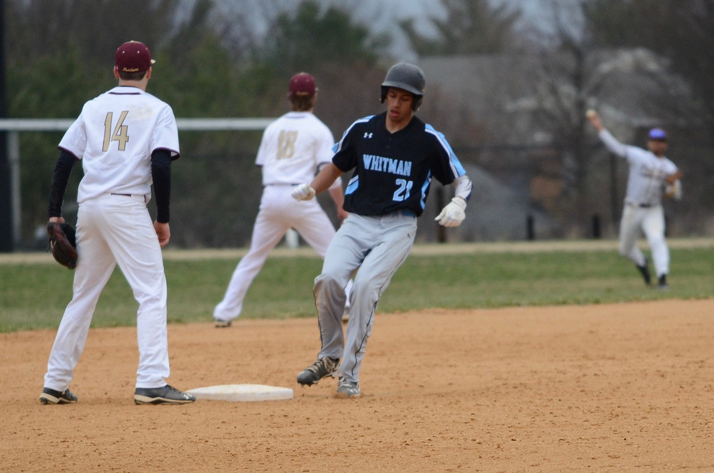 First baseman Noah Clement hit a double and a triple in the team's victory over Paint Branch. Photo courtesy of Whitman baseball.