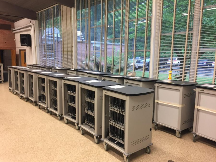 Administration removed Chromebook carts from classes to inventory them for PARCC and HSA testing. Photo by Lily Jacobson.