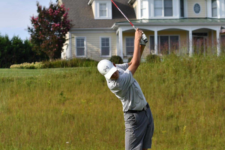 Golfer Chandler Kuhn hits a tee shot. Photo courtesy Whitman Golf.
