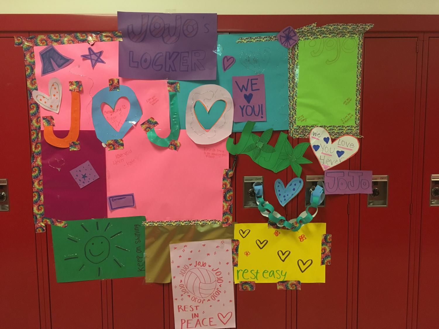 Students decorated a locker in JoJo's memory.