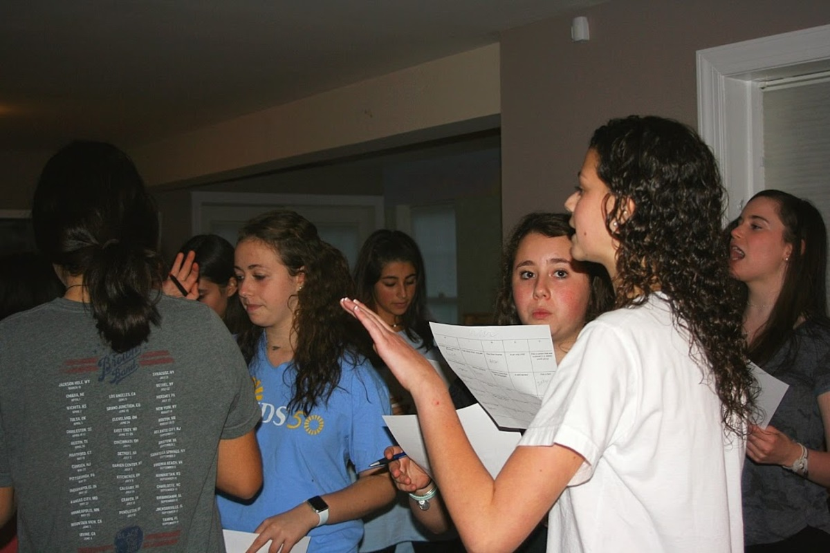BBYO members convence at a chapter meeting. BBYO is a Jewish youth group that fosters relationships in a fun, inclusive environment. Photo courtesy Frannie Cohen-Dumani.