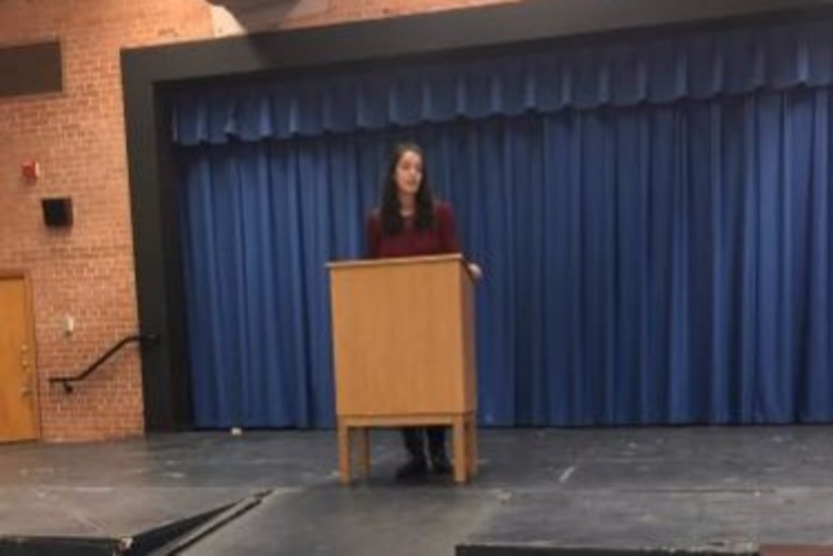 An AP Lang student gives a campaign speech. Teachers expanded the AP Lang election project to include AP NSL Government students this year. Photo courtesy Aarushi Malhotra.