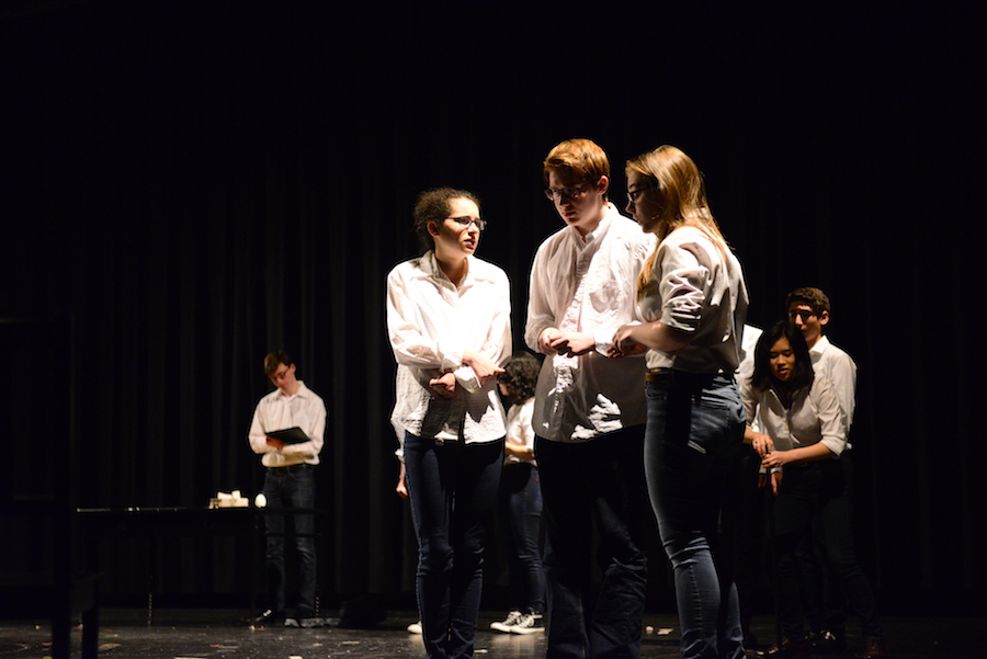 Students rehearse for last year's One Acts plays. Director Christopher Gerken unexpectedly quit Jan. 9 after 12 years with Whitman Drama. Photo by Tomas Casto.