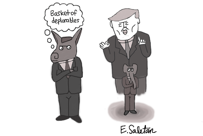 Trump%E2%80%99s+worst+traits+often+overshadow+the+beliefs+of+his+supporters.+Cartoon+by+Eli+Saletan.+