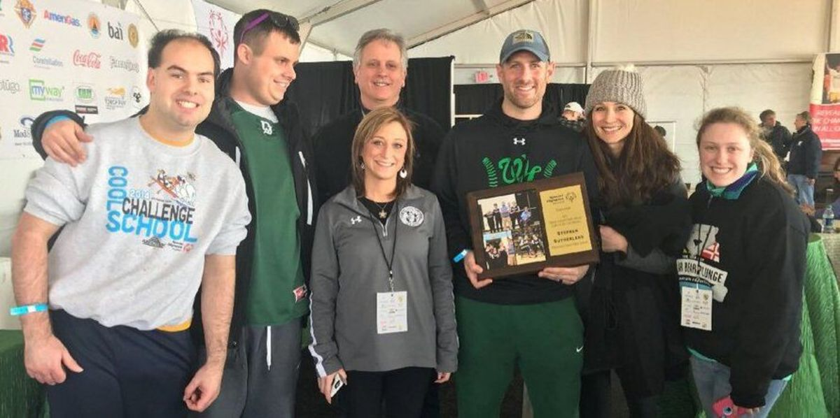 Steve Sutherland (center right) is given the Maryland Special Ed Coach of the Year award. Sutherland led the bocce team to a county championship this year.  Photo courtesy Jeffrey Sullivan Twitter.