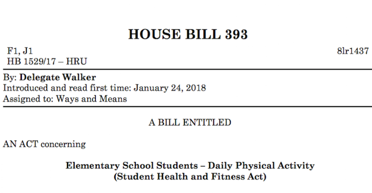 House Bill 393 requires more physical activity in elementary schools. The Student Health and Fitness Act was introduced into Maryland's General assembly Jan. 24. Photo by Lily Jacobson.