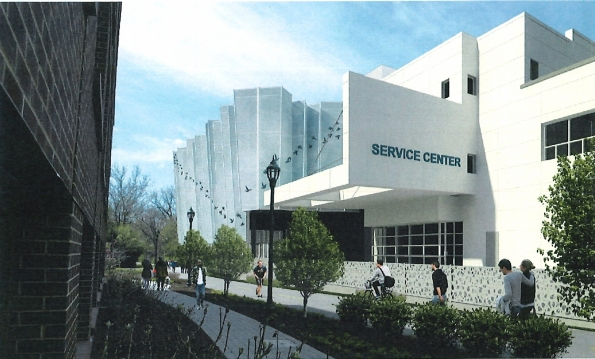 The rendering depicts a model of the Ourisman Honda dealership's decorative buffer between it and the Capital Crescent Trail. The buffer and landscaping are required as part of the agreement between the county and Ourisman in exchange for the dealership's continuing construction on its garage expansion. Photo courtesy Bethesda Magazine.