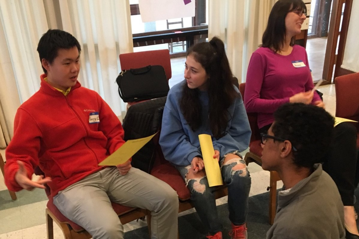 Students and staff participate in small group discussions at Whitman Study Circles at the first of two all-day retreats. MCPS Equity professionals were able to lead the discussions about race at Whitman.  Photo courtesy John Landesman.