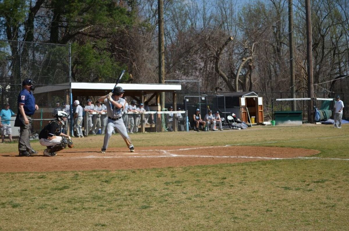 Sam Mermelstein, one of the handful of underclassmen on the squad, takes to the plate. The Vikes defeated the Wildcats Saturday 10-7.