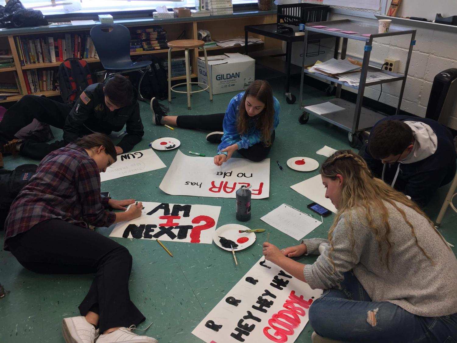 Students in the #neveragain Whitman Facebook group made posters that were used for anti-gun protests. Many Whitman students participated in the March 14 Student March in Washington D.C. to voice their concerns on gun violence in the aftermath of recent school shootings. Photo by Matt Proestel.