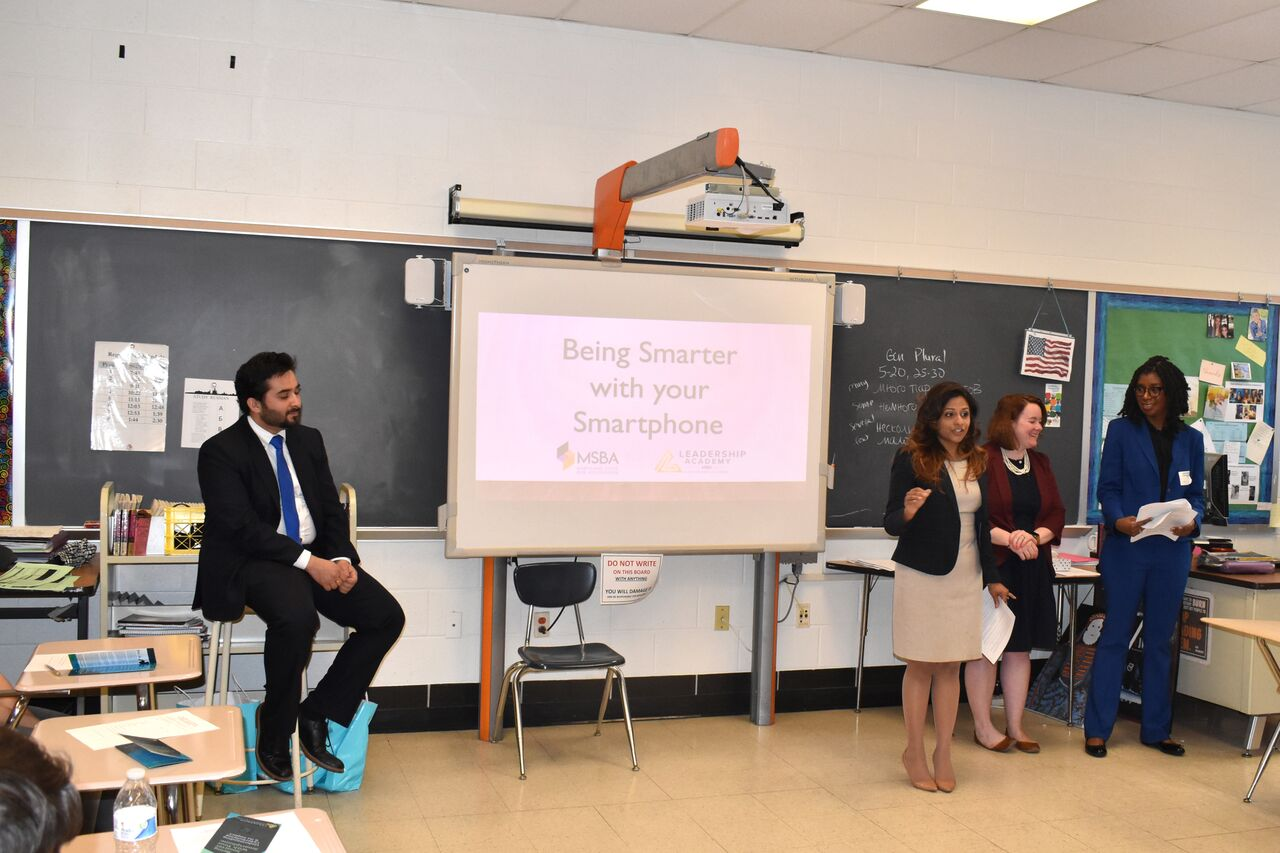 Attorneys teach students about the legal consequences of cyberbullying.  This year was the first time attorneys from the Maryland State Bar Association came to Whitman to present.  Photo courtesy Bill Hall.