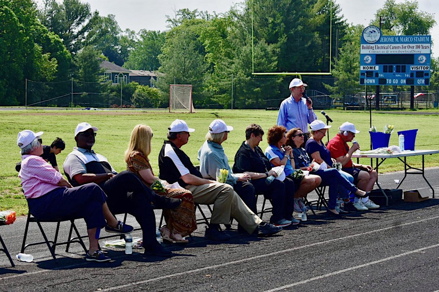 Whitmaniacs honored retiring teachers and administrators, including principal Alan Goodwin, in a ceremonial pep rally May 15. Goodwin is retiring this year after 15 years at Whitman. Photo by Hunter Hulsebus.