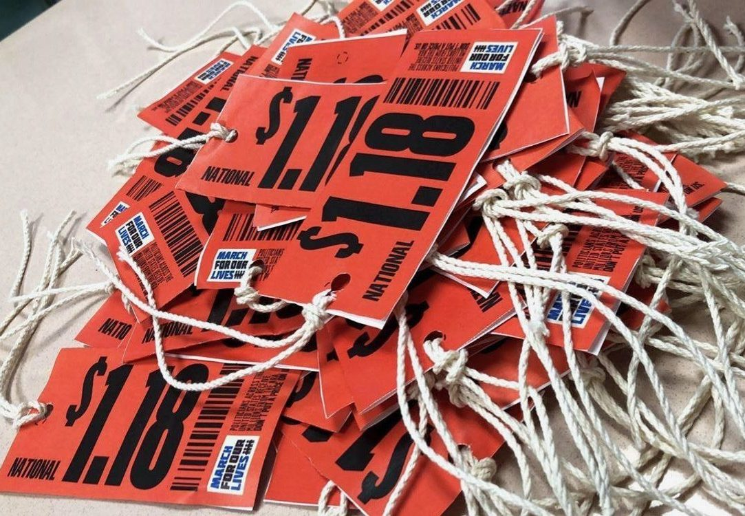 Members of NASAGV made price tags to show their frustration with the lack of gun violence legislation. The tags were first distributed May 18. Photo courtesy Rachel Zeidenberg.