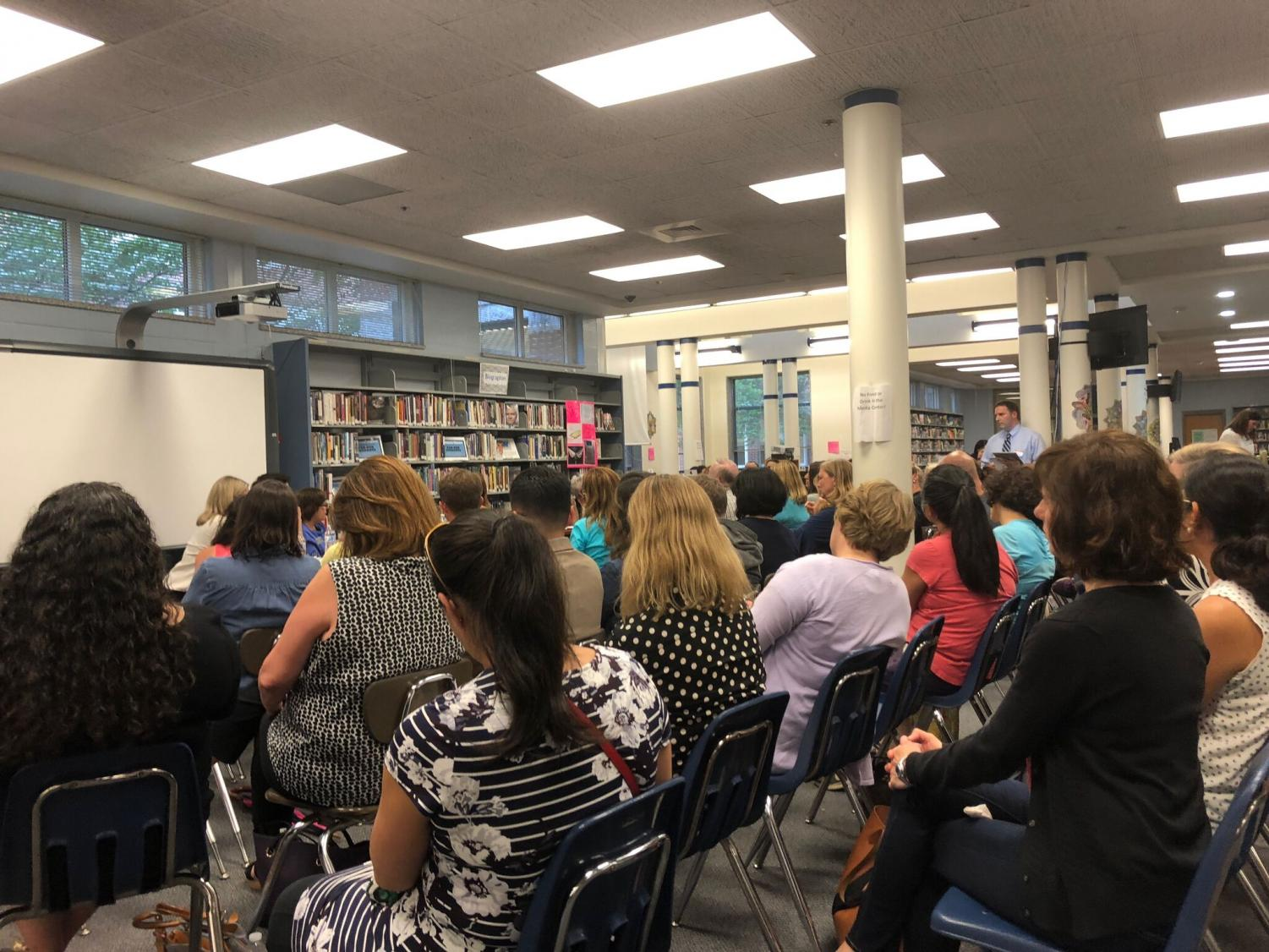 The county Board of Education held a community meeting to discuss curriculums, class sizes and mental health. These meetings are held every three years in the Whitman cluster. Photo by Meera Dahiya.