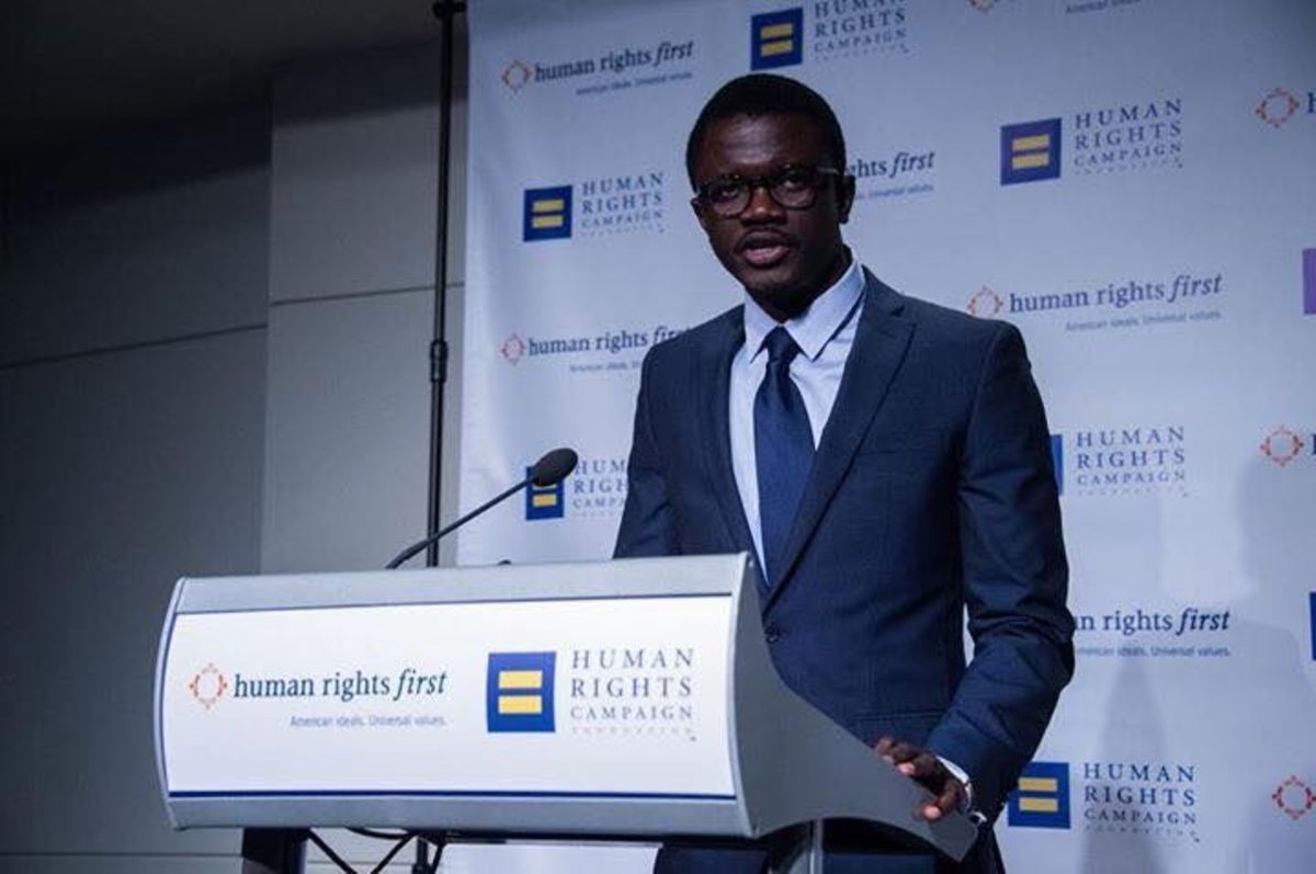 Jammeh speaks at the D.C. Newseum at the invitation of the Human Rights Campaign during an award ceremony and reception in December 2015. He has spoken at multiple venues since he was forced to seek asylum in the U.S. and rebuild his life for advocating for gay rights, out of line with the governmental views of his home country, The Gambia.
