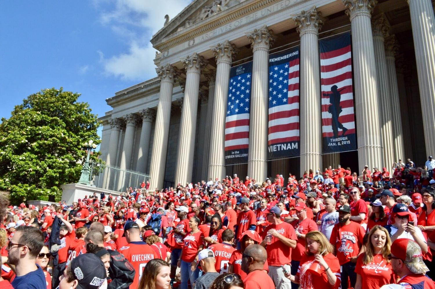 Hundreds of thousands of fans gathered in downtown D.C. Tuesday to celebrate the Capitals' first Stanley Cup victory. This marked the first Washington championship in 44 years.  Photo by Alex Lewis.