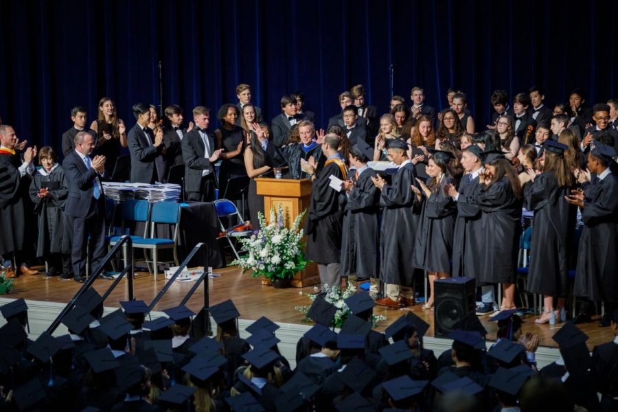 The+audience+at++graduation+June+8+gives+principal+Alan+Goodwin+a+standing+ovation+during+his+address+to+the+class.+This+graduation+was+Goodwin%27s+final+as+principal%2C+as+he+retires+June+30.+Robert+Dodd+will+assume+the+principal+role+starting+July+1.+Photo+by+Adam+Hirsh.