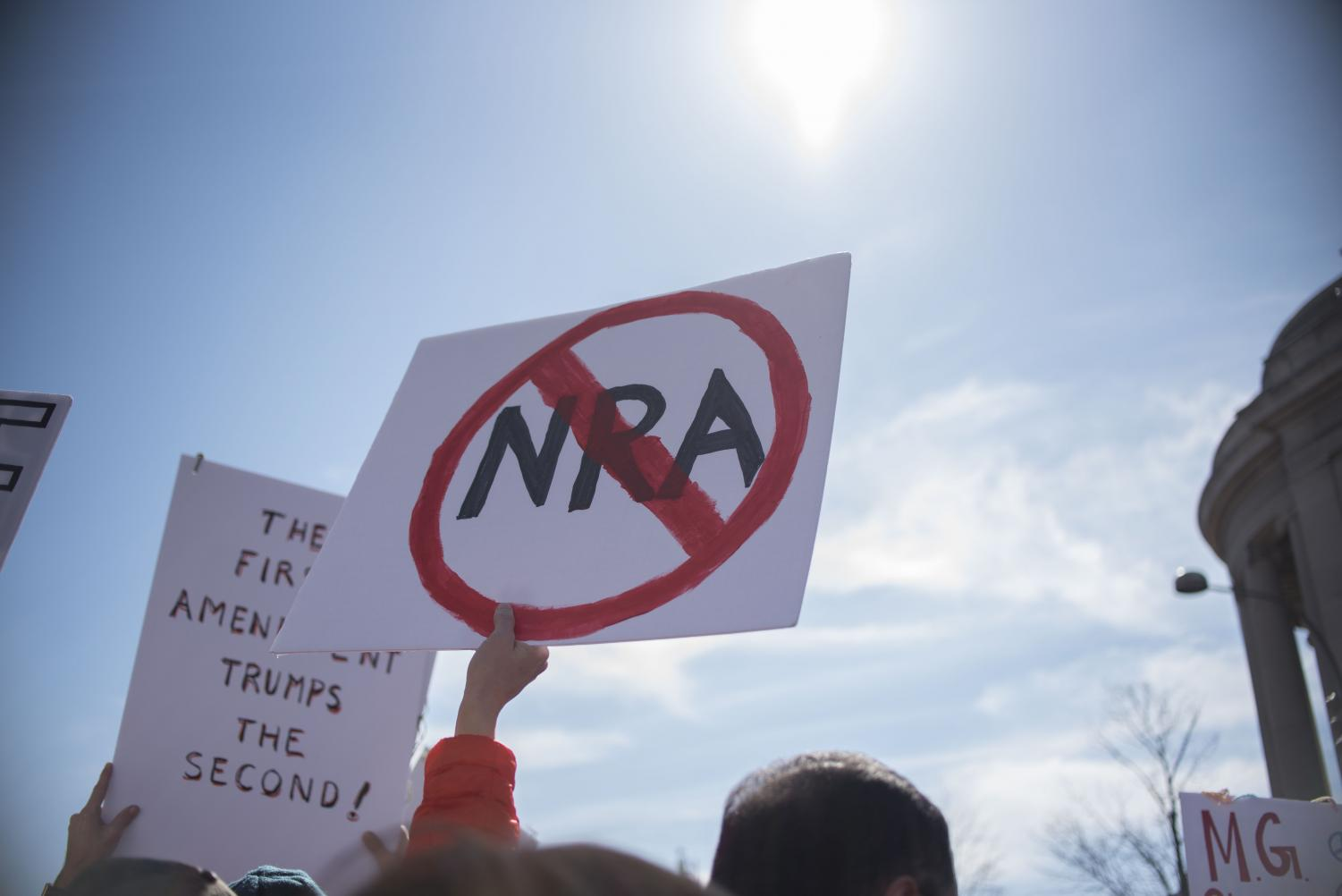Students protest the NRA at a student-organized march for gun control last year. The Montgomery County BOE will vote in mid-October on a bill granting students excused absences for approved school day protests. Photo by Annabelle Gordon.