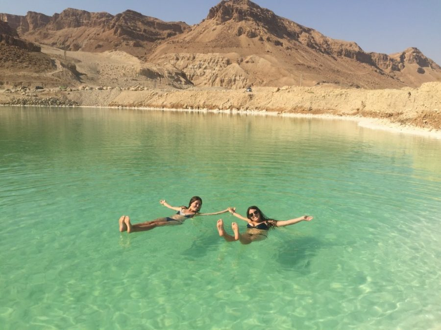Leor+Rosen+%28%2716%29+relaxes+in+the+Dead+Sea+in+Israel+after+doing+the+waterfall+hike+Ein+Gedi.+Rosen+spent+her+gap+year+following+a+trend+of+students+studying+abroad+after+high+school+or+in+college.+Photo+courtesy+Leor+Rosen.